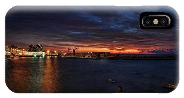 a flaming sunset at Tel Aviv port IPhone Case