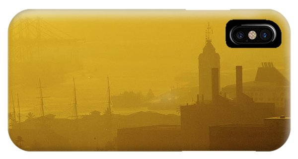 A Foggy Golden Sunset In Honolulu Harbor IPhone Case