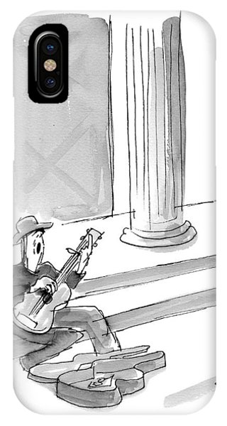 A Folk Singer Sings In Front Of A Bank IPhone Case