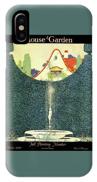 A Fountain With A Hedge In The Background IPhone Case