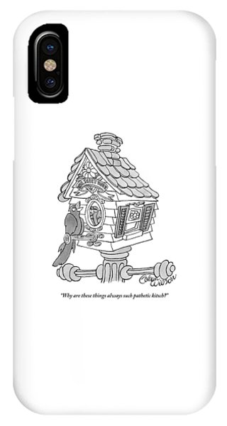 Cuckoo iPhone Case - A Frustrated-looking Bird Perches Himself by Gahan Wilson