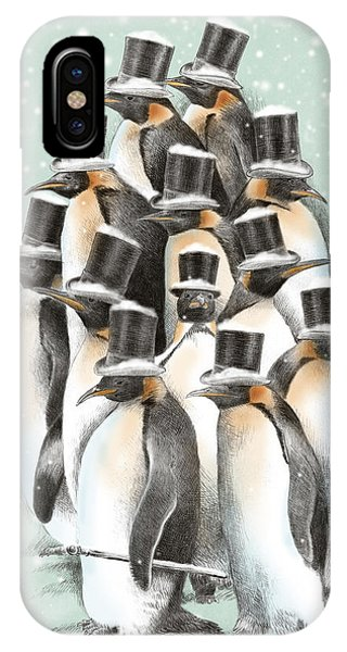 Penguin iPhone Case - A Gathering In The Snow by Eric Fan