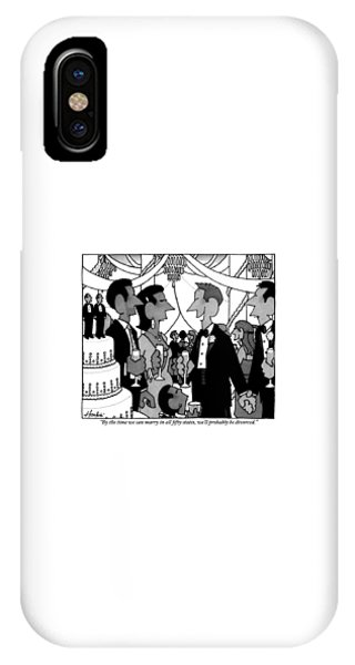 A Gay Couple Speaks To A Heterosexual Couple IPhone Case