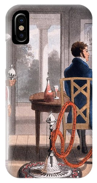 British Empire iPhone Case - A Gentleman With His Hookah Burdah, Or by Charles D'Oyly