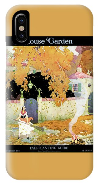 A Girl Sweeping Leaves IPhone Case