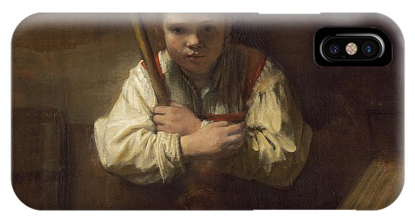 A Girl With A Broom IPhone Case