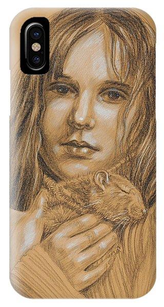 Hamster iPhone Case - A Girl With The Pet by Irina Sztukowski