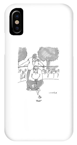 A Golf Caddy Looks Over A Kneeling Golfer Who IPhone Case