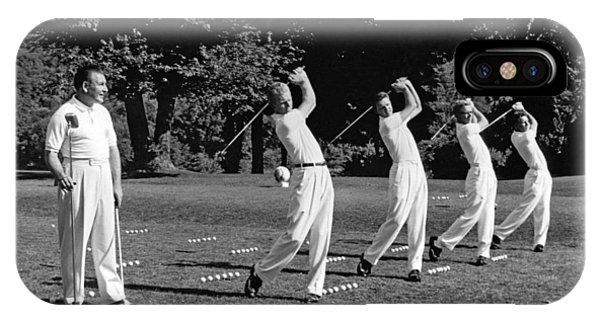 Golf iPhone Case - A Golf Driving Demonstration. by Underwood Archives