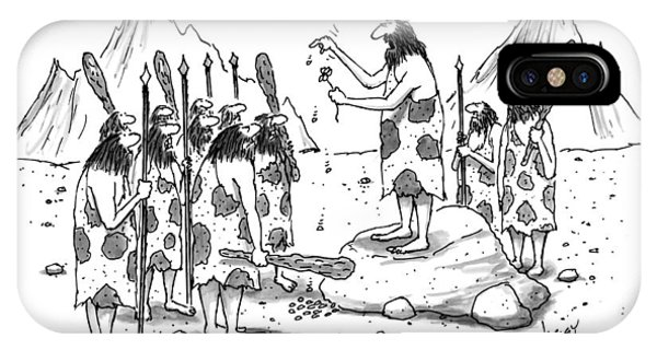 A Group Of Cavemen Gather Around A Leader IPhone Case