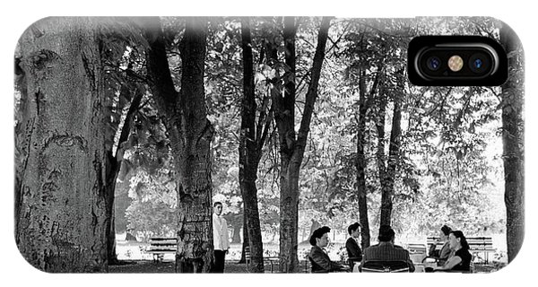 A Group Of People Eating Lunch Under Trees IPhone Case