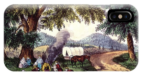 Cauldron iPhone Case - A Halt By The Wayside  by Currier and Ives