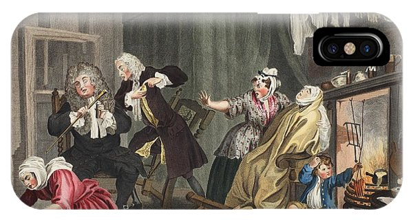 Fireplace iPhone Case - A Harlots Progress, Plate V by William Hogarth
