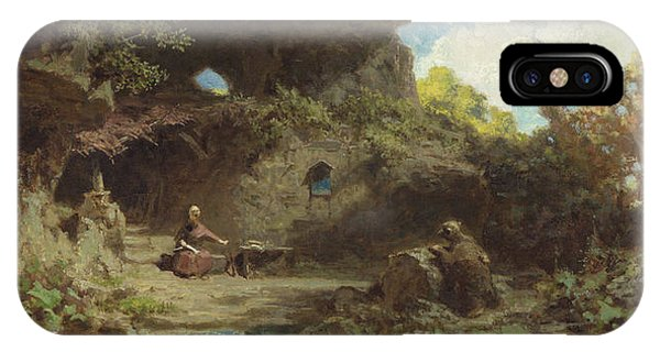 Middle Of Nowhere iPhone Case - A Hermit In The Mountains by Carl Spitzweg