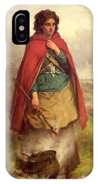 Cauldron iPhone Case - A Highland Gypsy, 1870 Oil On Canvas by Thomas Faed
