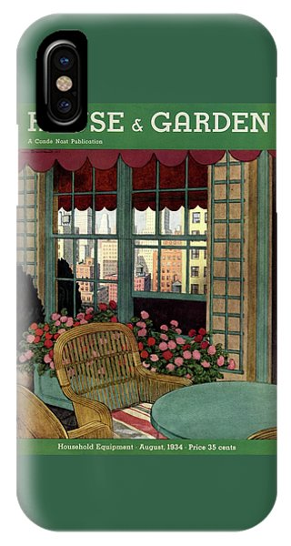 Magazine Cover iPhone Case - A House And Garden Cover Of A Wicker Chair by Pierre Brissaud