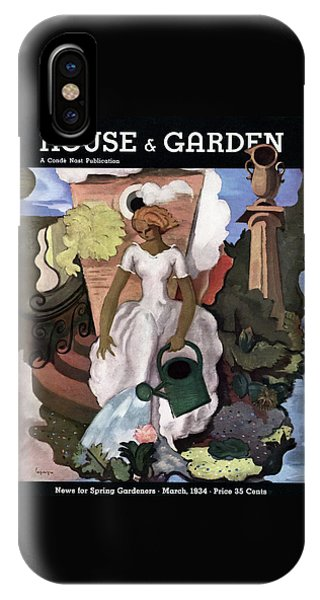 Magazine Cover iPhone Case - A House And Garden Cover Of A Woman Watering by Georges Lepape
