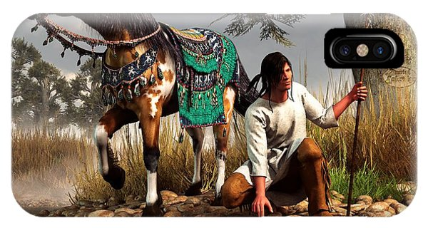 IPhone Case featuring the digital art A Hunter And His Horse by Daniel Eskridge
