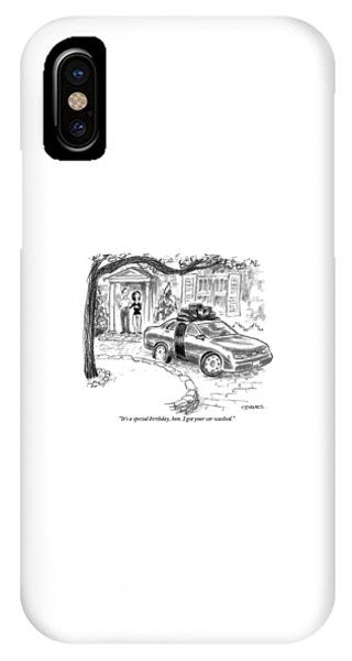 A Husband And Wife Stand In The Doorway Looking IPhone Case
