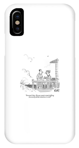A Husband Talks To A Wife On A Porch Of A Beach IPhone X Case