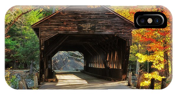 New Hampshire iPhone Case - A Kancamagus Gem - Albany Covered Bridge Nh by T-S Fine Art Landscape Photography