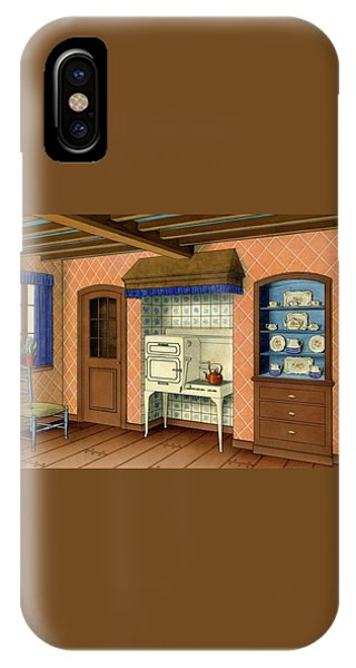 A Kitchen With An Old Fashioned Oven And Stovetop IPhone Case