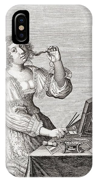 Toilet iPhone Case - A Lady At Her Toilette, After A 17th Century Engraving By Le Blond.  From Illustrierte by Bridgeman Images