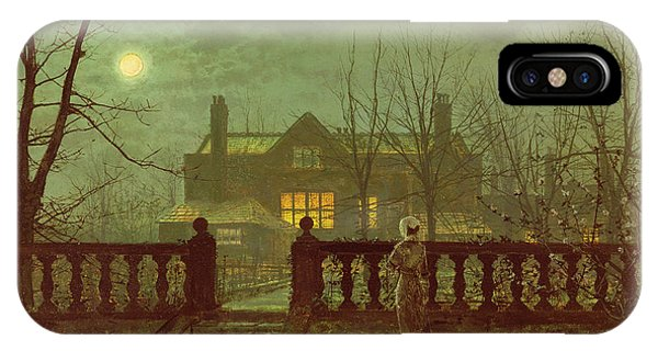 Houses iPhone Case - A Lady In A Garden By Moonlight by John Atkinson Grimshaw