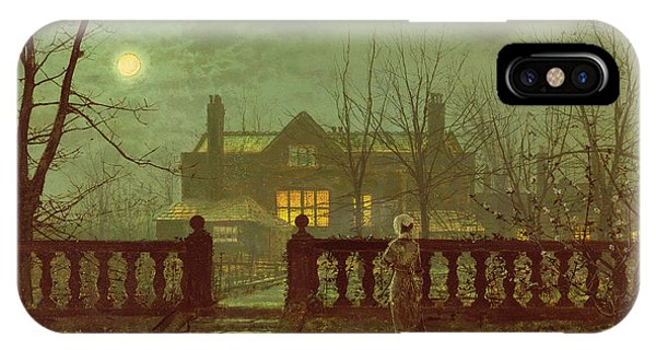 House iPhone Case - A Lady In A Garden By Moonlight by John Atkinson Grimshaw