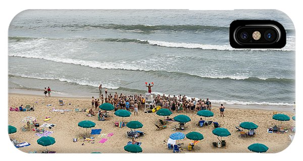 A Lifeguard Gives A Safety Briefing To Beachgoers In Ocean City Maryland IPhone Case