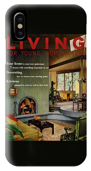A Living Room With Sherwin-williams Wood-paneling IPhone Case