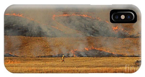 A Lone Firefighter On The Norbeck Prescribed Fire. IPhone Case