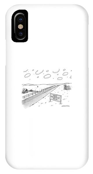 Sign iPhone Case - A Long, Country Road Is Pictured With A Barn by Mick Stevens