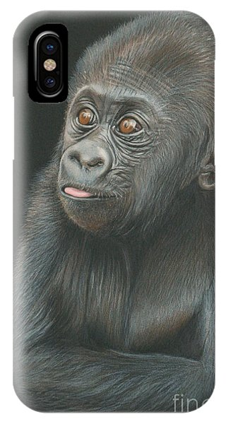 iPhone Case - A Look Of Wonder - Baby Gorilla by Jill Parry