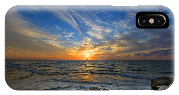 A Majestic Sunset At The Port IPhone Case