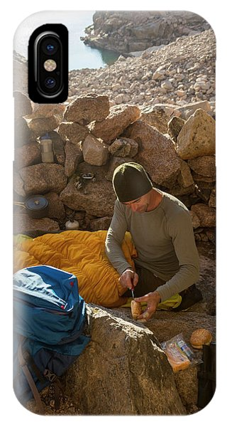 Knit Hat iPhone Case - A Male Mountain Climber Getting Ready by Kennan Harvey