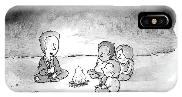 Business iPhone Case - A Man And 3 Children Sit Around A Fire by Tom Toro