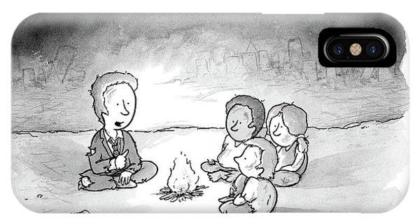 A Man And 3 Children Sit Around A Fire IPhone X Case