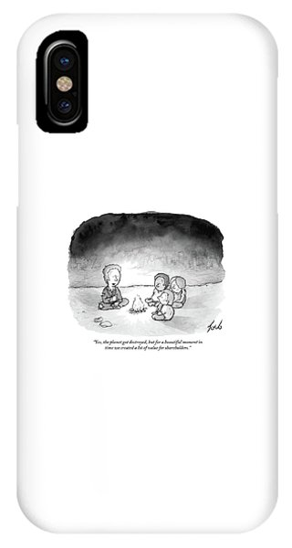iPhone Case - A Man And 3 Children Sit Around A Fire by Tom Toro