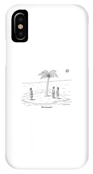 Shipwreck iPhone Case - A Man And A Woman Stand On One Coast Of A Tiny by Mick Stevens