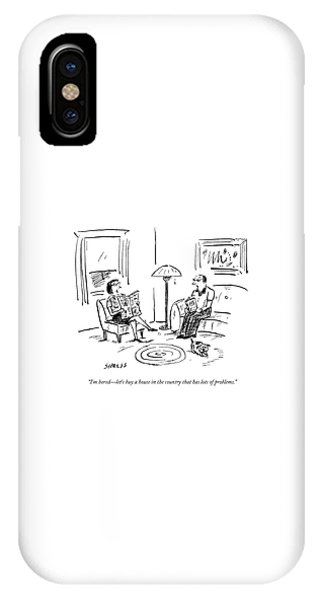 A Man And A Woman Talk In Their Living Room IPhone Case