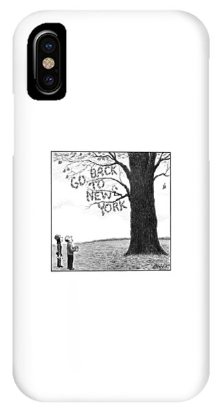 A Man And Woman Look At A Single Tree In A Field IPhone Case