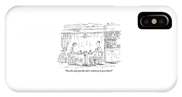 A Man And Woman Sit At A Kitchen Table Together IPhone Case