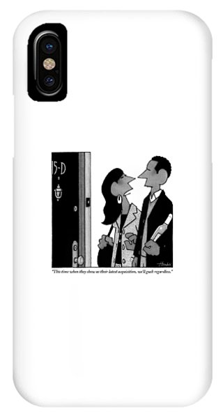 A Man And Woman Speak In A Hallway Outside An IPhone Case
