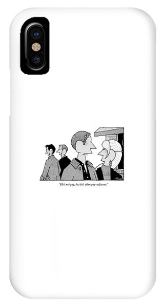 A Man And Woman Speak While Two Men Talk IPhone Case