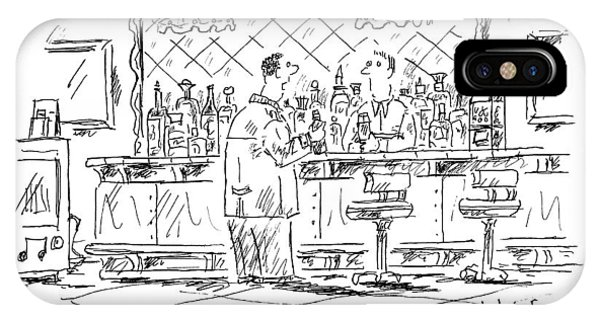Bar iPhone Case - A Man At A Bar Talking To The Bartender by Barbara Smaller