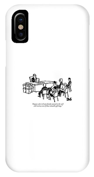 A Man Behind A Desk Reads A Piece Of Paper IPhone Case