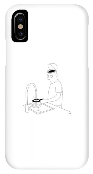 A Man Filling Up His Coffee Pot IPhone Case