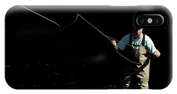 Kingsville iPhone Case - A Man Fly Fishes In Gunpowder State by Dennis Drenner