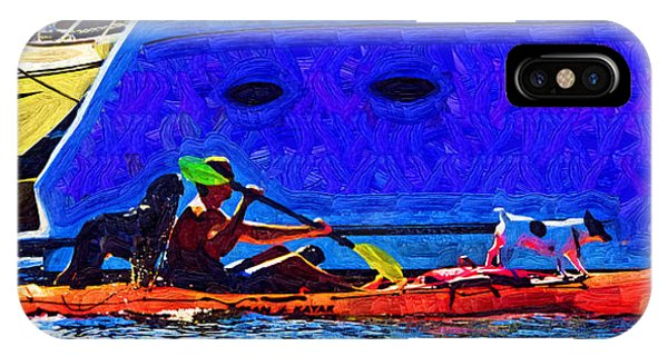 A Man His Kayak And His Dogs IPhone Case